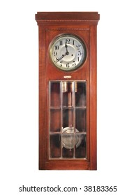 Antique pendulum clock made of wood, glass and bronze