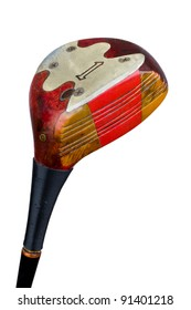 An antique, persimmon golf driver, isolated on a white background. Includes working path.