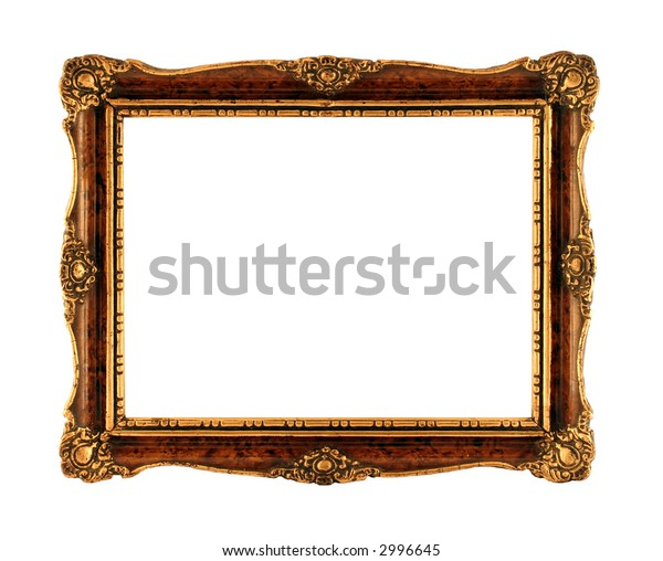 Antique picture frame isolated on white