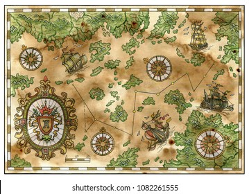 Antique pirate treasures map with old ships, islands, banner and compasses. Decorative ancient background with nautical chart, adventure treasures hunt concept, watercolor hand drawn illustration