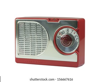 Antique plastic transistor radio, isolated over white, clipping paths included
