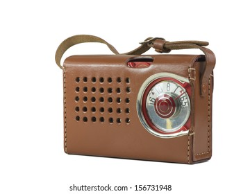 Antique plastic transistor radio in leather case, isolated over white, clipping paths included