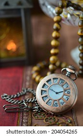 Antique pocket clock made with color filters