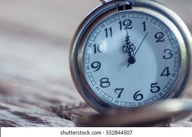 Antique pocket watch on wooden background