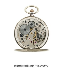 Antique pocket watches mechanic with jewels inside isolated on white.