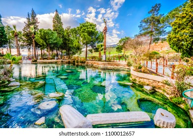 the Antique pool (Cleopatra's Bath) view in Pamukkale. It's a popular touristic destination during a Pamukkale visit