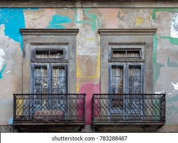 Antique Portuguese Architecture: Old Windows and Colorful Wall - Portugal.