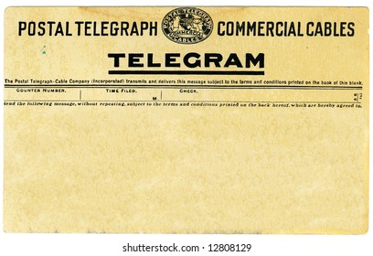 Antique postal telegram with copy space for your own message.
