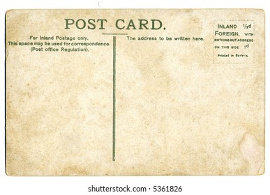 antique postcard - space for text, isolated on white