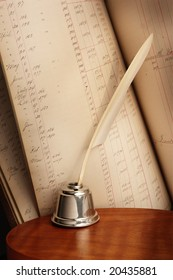 Antique Quill Pen and Ledger