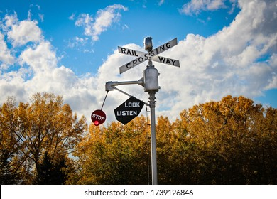 An Antique Railway Crossing Sign