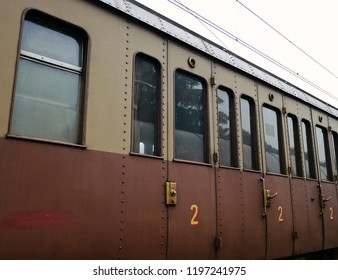 Antique railway wagon for passengers  of the 1930s.
