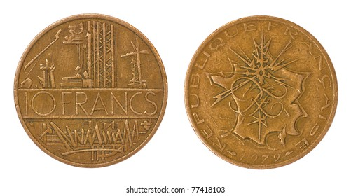 antique rare coin of france isolated on white background