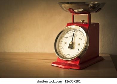 Antique red kitchen scales