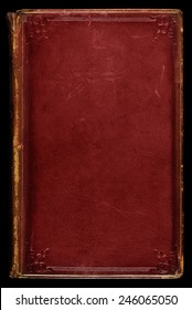 Antique red leather book cover; textured with age, stains and scratches. Tooled gilded frame and floral edge emblems. Use as background.