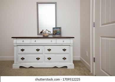 Antique restoration, white dresser with beach decor