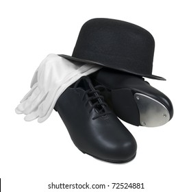 Antique retro style bowler hat with tap shoes and white gloves