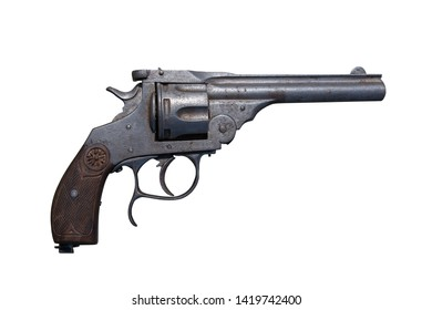 Antique revolver isolated on white background.ient weapon. Antique firearm.