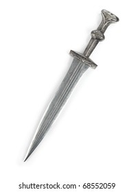 Antique Roman dagger short sword isolated on white background
