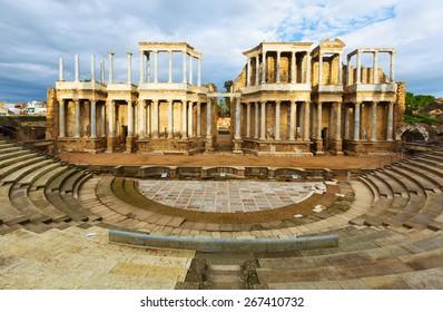 Antique Roman Theatre  in sunny morning. Merida, Spain