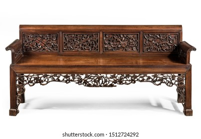 Antique rosewood pierced carved upholstered soaf couch