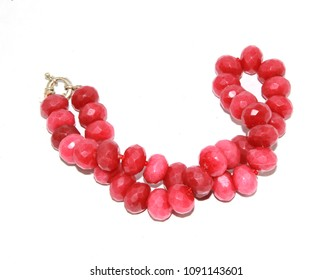 Antique Ruby Necklace Beads Jewellery on White Background
