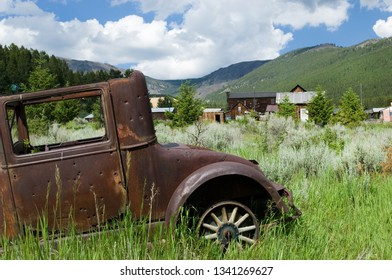 Antique rustic car in Elkhorn, Montana ghost town, USA