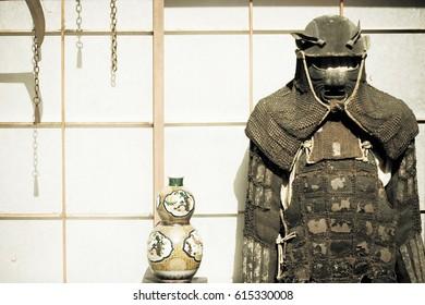 Antique Samurai armor costume at Takayama, Japan.