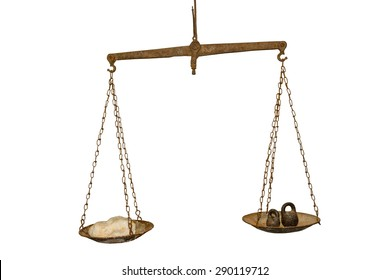Antique scales, corroded by rust on a white background.