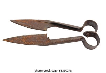 Antique sheep shearing scissors. Isolated on white