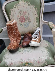 Antique shoes on an antique chair in Amsterdam Netherlands