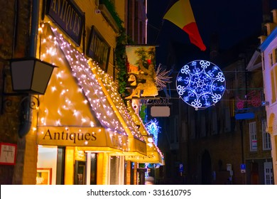 Antique shop decorated for Christmas in Bruges, Belgium