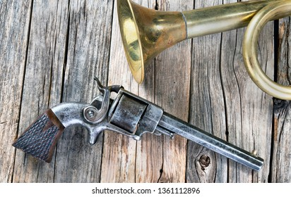 Antique sidehammer pistol used in the Civil War, made around 1861.