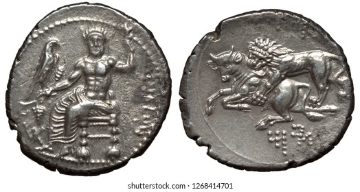 Antique silver coins of Cilicia, stater 361-334 BC, Persian Satrap Mazaeus on throne holding eagle on vine with grapes in right hand, lion tearing calf, Aramaic legend below,