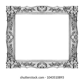 Antique silver gray frame isolated on white background, clipping path.
