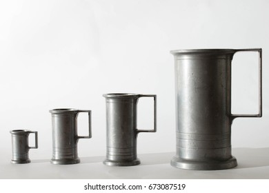 Antique silver metal  cups for beer