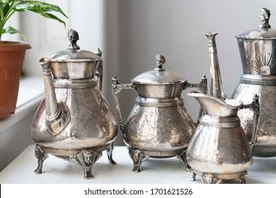 antique silver plated tea set for home or antique store