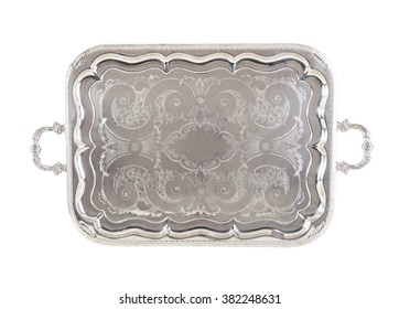 Antique silver tray, old but luxury plate, isolated on white wit