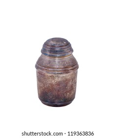 antique silver urn for ashes isolated over white background