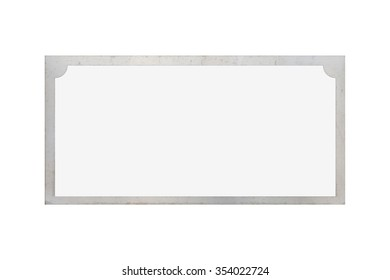 Antique sliver name plate isolated on white background