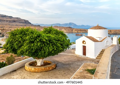 antique small church in the Lindos, Rhodes ,Greece