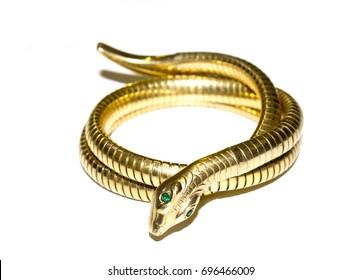 Antique Snake Bangle Bracelet on White Background
