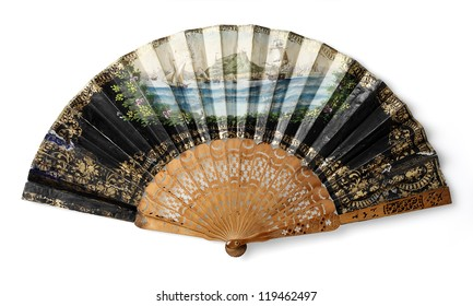 antique spanish fan isolated