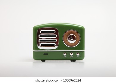 antique speaker radio on white background
