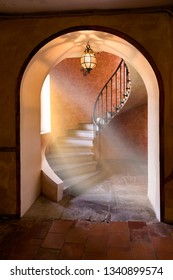 Antique spiral staircase in an old French mansion