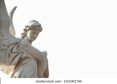 Antique statue of beautiful angel against white background. Stone sculpture with a sweet expression that looks down. Space for text.