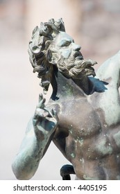 Antique statue of a Satyr, from Pompeii, Italy. Close-up,isolated  and half-face.