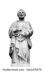 Antique statue of St. Peter with keys to the Kingdom of Heaven