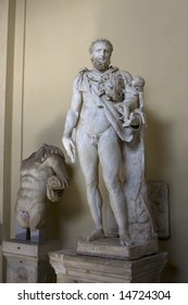 Antique statue in Vatican of ancient naked man