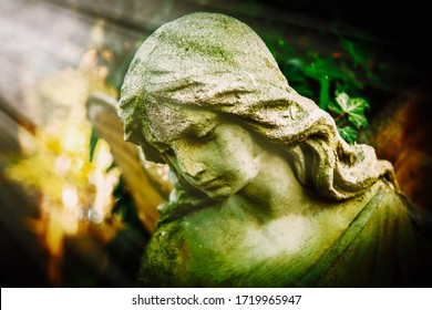Antique statue of wonderful angel in the rays of the sun on green background. Architecture, sculpture, religion, faith concept.